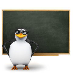 3d Penguin in glasses in front of the blackboard