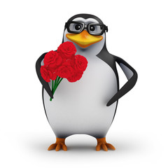 3d Penguin in glasses with a bouquet