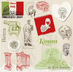 Papiers peints Doodle Set of Rome doodles - for design and scrapbook - hand drawn in v