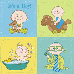 Baby Boy Arrival Card or Baby Shower Card - in vector