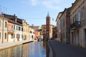 Italy Comacchio village old clock tower