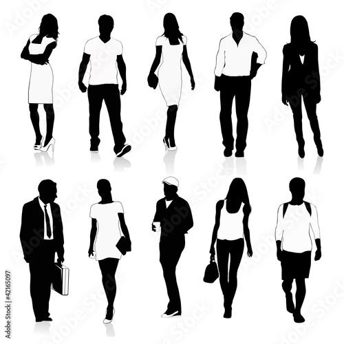 Isolated Silhouettes Of People WalkingVector Illustration