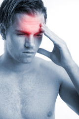men with headache on white background 2