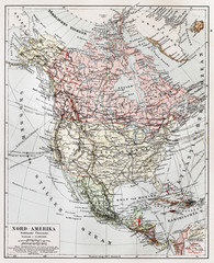Vintage  Political map of North America in early 1900's