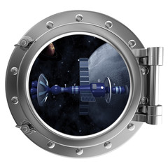Porthole overlooking the spacecraft