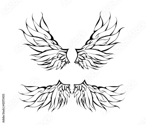 Tribal Wings Tattoo Design Stock Image And Royalty Free Vector