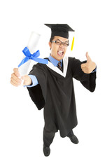 excited graduating student  with thumbs up