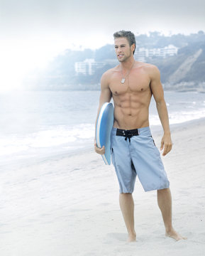 Serene surfer at the beach