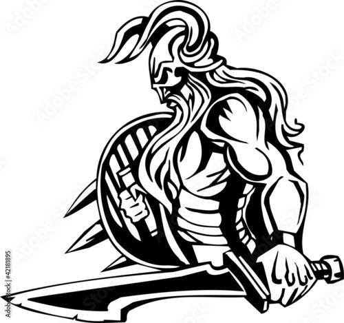 quotnordic viking black white vector illustration vinyl