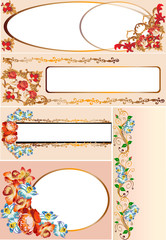 set of red rose flowers frames