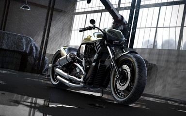 bike in a garage 3d rendering