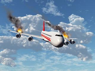 Avión con los motores incendiados Fototapete