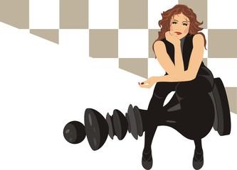 Beautiful woman sitting on the black king chess