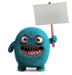 Zelfklevend Fotobehang Sweet Monsters cute furry monster