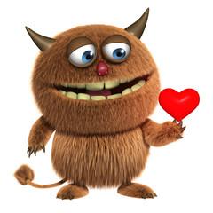 Spoed Fotobehang Sweet Monsters cute furry alien