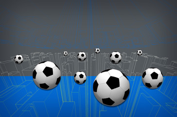 Soccer ball on graphic background