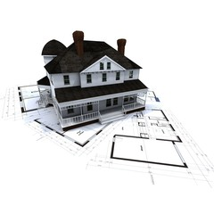 Colonial house and blueprints