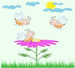 Cute cartoon bees on the flower