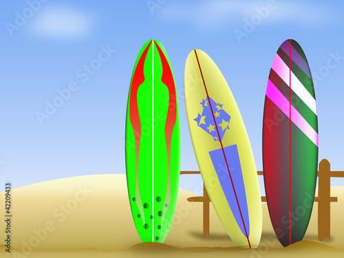 Tavole da surf sulla spiaggia immagini e vettoriali royalty free su file 42209433 - Tavole da surf decathlon ...