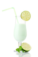 Milk shake with lime and mint isolated on white