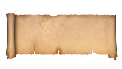 Scroll of antique parchment on a white background.