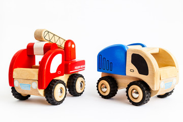 Wooden truck and fire engine