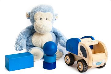 Toy monkey and bricks
