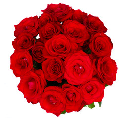 round bouquet of red roses