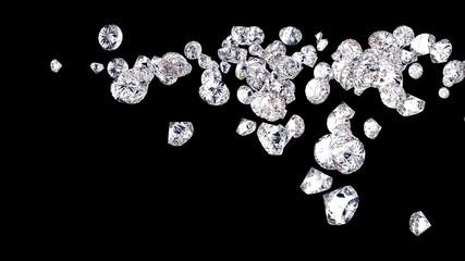 diamonds isolated on black