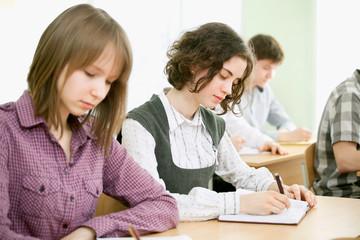 Schoolgirls in the classroom