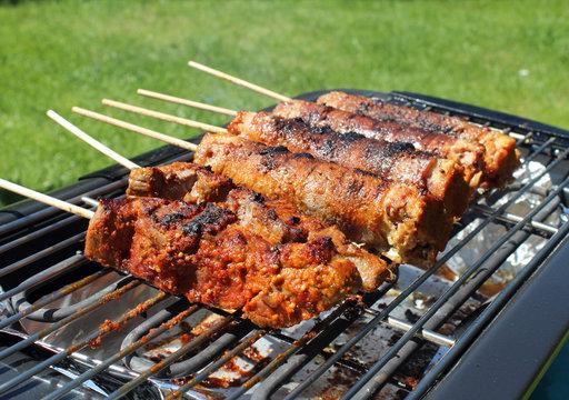 Barbecue,  brochettes d'andouillettes