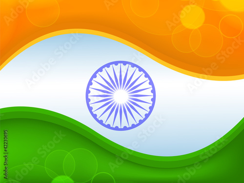 """Creative Watercolor Indian Flag Background For Indian: """"Creative Indian Flag Color Background With Wave. EPS 10"""