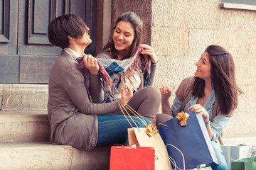 Happy Young Women after Shopping