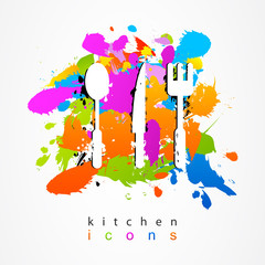 Colorful set of kitchen accessories.