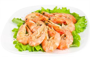 shrimp on a green salad