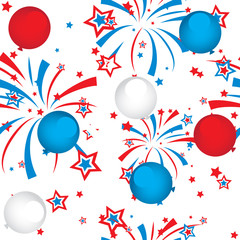 seamless pattern of fireworks and balloons