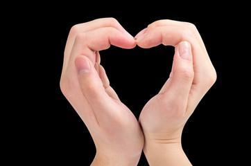 Two hands form a heart shape