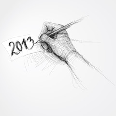 """Hand writes """"2013"""" / Realistic sketch (not auto-traced)"""