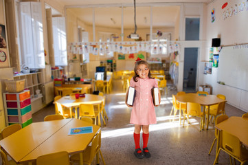 Little girl on a school classroom