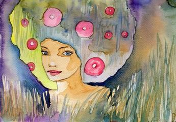 Keuken foto achterwand Schilderkunstige Inspiratie abstrakcyjny portret kobiety