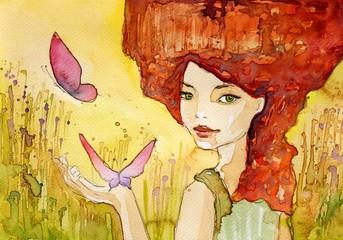 młoda dziewczyna z motylami