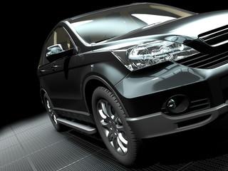 car presentation on a stylish metallic grill ground 3d rendering