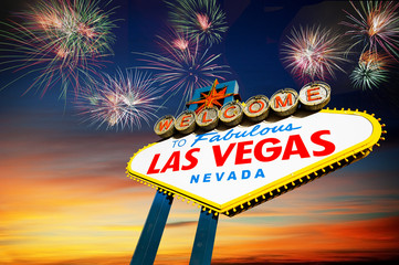 Aluminium Prints Las Vegas welcome to Fabulous Las Vegas Sign with fireworks