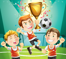 Children Soccer champion with winners trophy. cartoon character