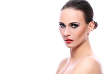 Beautiful woman with evening makeup