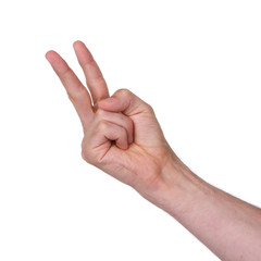 Man making a rude 'V' sign