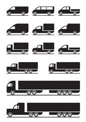 Trucks and pickups - vector illustration