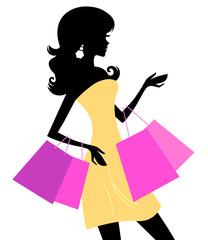 Shopping retro girl isolated on white