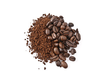 caffè solubile e chicchi tostati