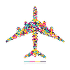 Airplane consisting of airplanes. Vector illustration.
